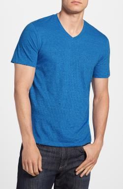 The Rail  - Slub Feeder Stripe V-Neck T-Shirt