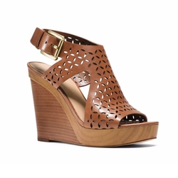 Michael Michael Kors - Josephine Perforated-Leather Wedge Sandals
