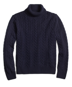 Brooks Brothers - Saxxon Wool Cable Turtleneck Sweater
