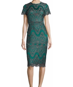 Catherine Deane - Short-Sleeve Metallic Lace Cocktail Dress