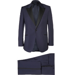 Huntsman - Navy Slim-Fit Wool And Mohair-Blend Tuxedo Suit