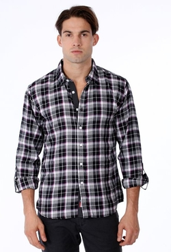 One90one - Slim Fit Black Plaid Shirt