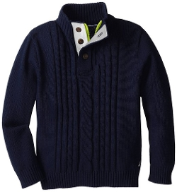 Nautica - Solid Button Neck Cable Sweater