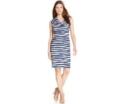 Connected - Wavy-Stripe Cowl-Neck Dress