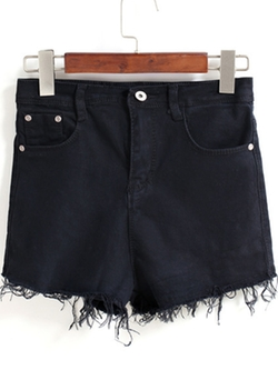 Romwe -  Pockets Tassel Denim Shorts