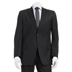 Marc Anthony  - Modern-Fit Shadow-Striped Wool Black Suit Jacket