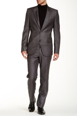 Versace - Wool Stripe Peak Lapel Suit