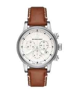 Burberry - Ladies Brown Leather Strap Watch