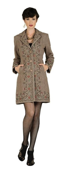 Aris A - Floral Embroidered Wool-Blend Coat