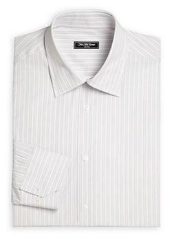 Saks Fifth Avenue Collection  - Bridge Striped Cotton Dress Shirt