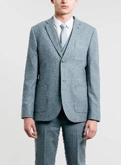Topman - Light Blue Herringbone Three Piece Suit