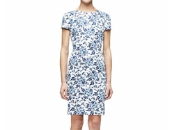 Carolina Herrera  - Short-Sleeve Floral-Print Sheath Dress