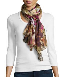 Valentino  - Silk Floral-Print Scarf