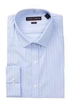Vince Camuto - Satin Stripe Slim Fit Dress Shirt