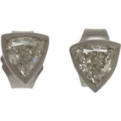 Malcolm Betts  - Trillion Cut Diamond Stud Earrings