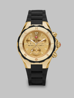 Michele Watches  - Silicone & Goldtone Stainless Steel Chronograph Watch