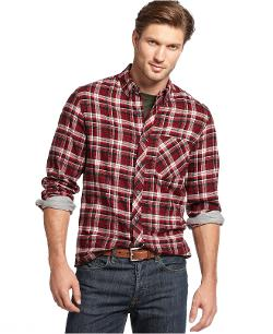 CLUB ROOM - Slim-Fit Long-Sleeve Brushed Cotton Plaid Shirt