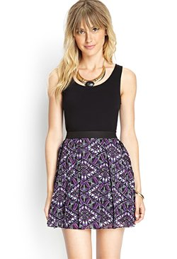 Forever 21 - Pleated Abstract Skater Skirt
