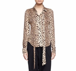 Chloe - Leopard-Print Sash-Detailed Blouse