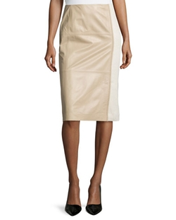 Lafayette 148 New York - Midi-Length Combo Pencil Skirt