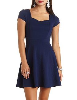 Charlotte Russe - Geo-textured Heart Cut-out Skater Dress