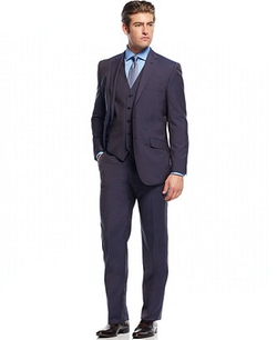 English Laundry  - Navy Solid Slim-Fit Vested Suit