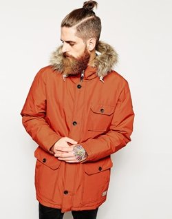 Quiksilver - Parka with Faux Fur Trim