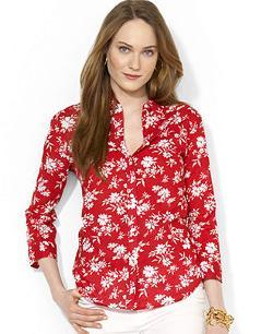 Lauren Ralph Lauren  - Three-Quarter-Sleeve Floral-Print Shirt