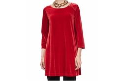 Joan Vass  - 3/4-Sleeve Velour Tunic Top