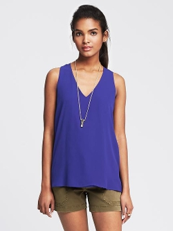 Banana Republic - Cross-Back Crepe Tank Top