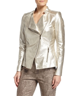 Lafayette 148 New York  - Trinity Metallic Leather Jacket