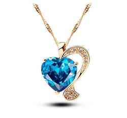 Cos2be  - Ocean Blue Crystal Love Heart Pendant Necklace