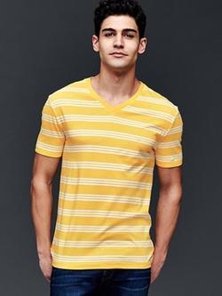 Gap - Vintage Wash Stripe V-Neck T-Shirt