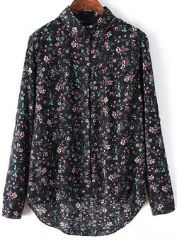 Romwe - Long Sleeve Floral Dipped Hem Blouse