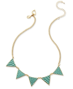 Thalia Sodi - Gold-Tone Turquoise-Color Textured Triangle Necklace