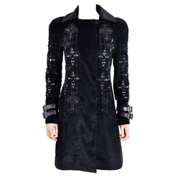 Versace - Velvet Crystal Gothic Cross Flared Coat