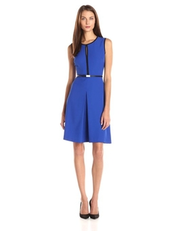 Calvin Klein - Sleeveless Belted Sheath Dress
