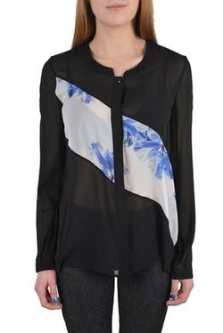 Just Cavalli - Silk Printed See Through Button Down Blouse