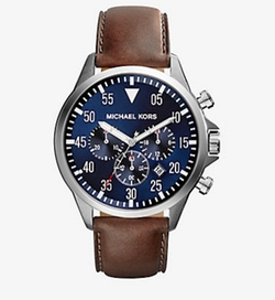 Michael Kors - Gage Leather-Strap Stainless Steel Watch