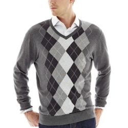 Claiborne - Raker-Stitched Argyle Sweater