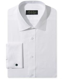 Michelsons of London  - Slim Chevron Textured French Cuff Tuxedo Shirt
