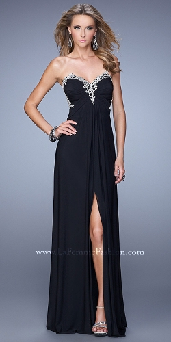 La Femme - Gathered Embroidered Prom Dress