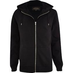 River Island - Black High Neck Zip Through Hoodie