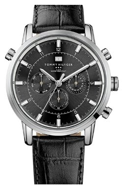 Tommy Hilfiger  - Round Chronograph Leather Strap