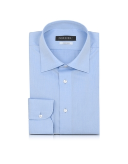 Forzieri - Solid Light Blue Non Iron Cotton Dress Shirt