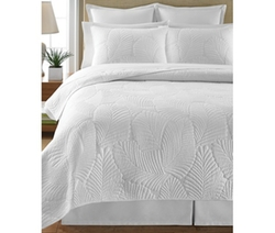 Martha Stewart Collection  - Atlantic Palm White Full/Queen Quilt