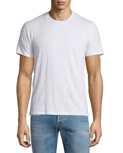 Etro - Crewneck Short-Sleeve Linen T-Shirt, White