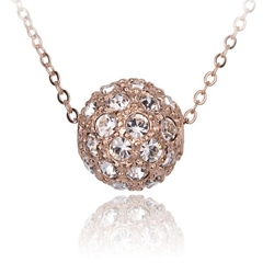 Fashion Plaza - Cubic Zirconia Crystal Ball Necklace On Rolo Chain
