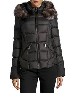Dawn Levy  - Fur-Trimmed Wool-Blend Inset Puffer Jacket