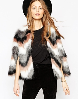 Asos - Chevron Faux Fur Cape